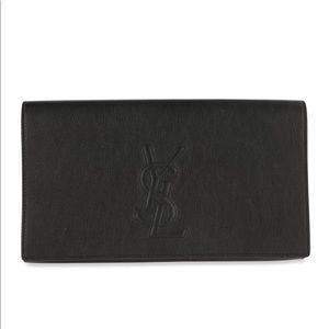 Saint Laurent belle de jour black leather clutch